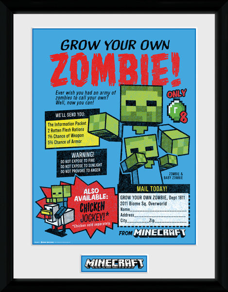 Framed poster Minecratf - Grow Your Own Zombie