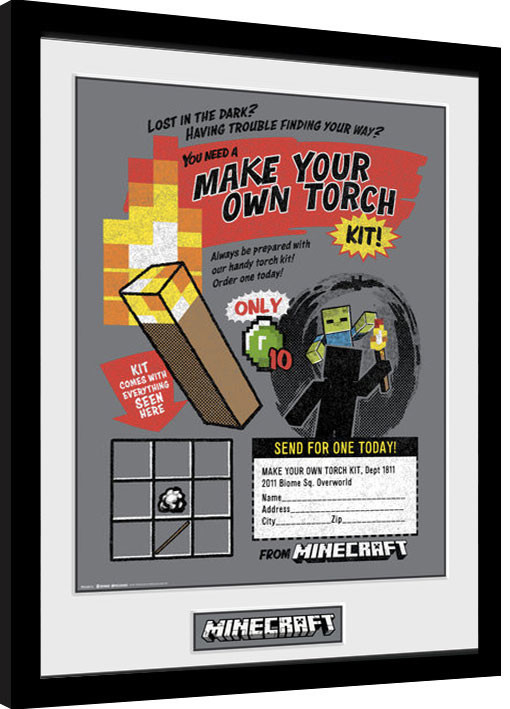 Minecratf - Make Your Own Torch Framed poster