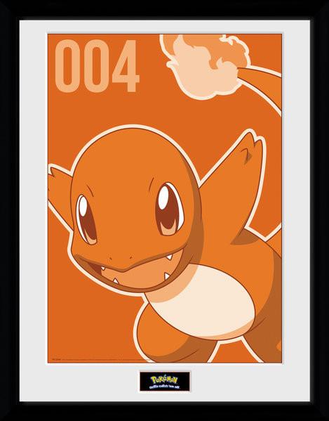 Pokemon - Charmander Mono Framed poster