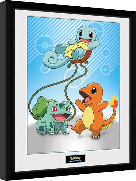 Framed poster Pokemon - Kanto Starter