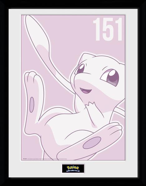 Pokemon - Mew Mono Framed poster