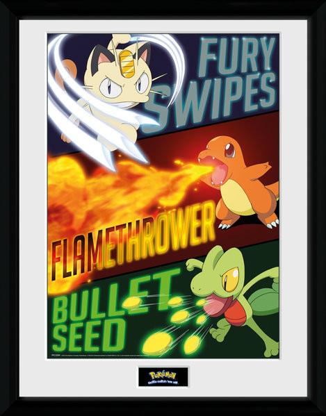 Framed poster Pokemon - Moves