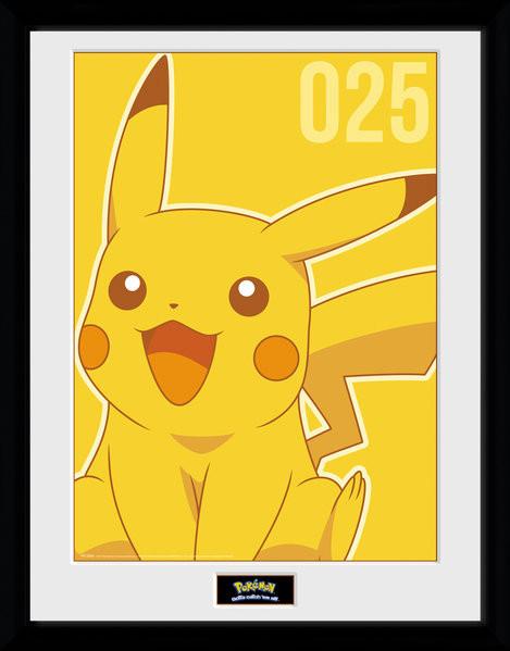Framed poster Pokemon - Pikachu Mono