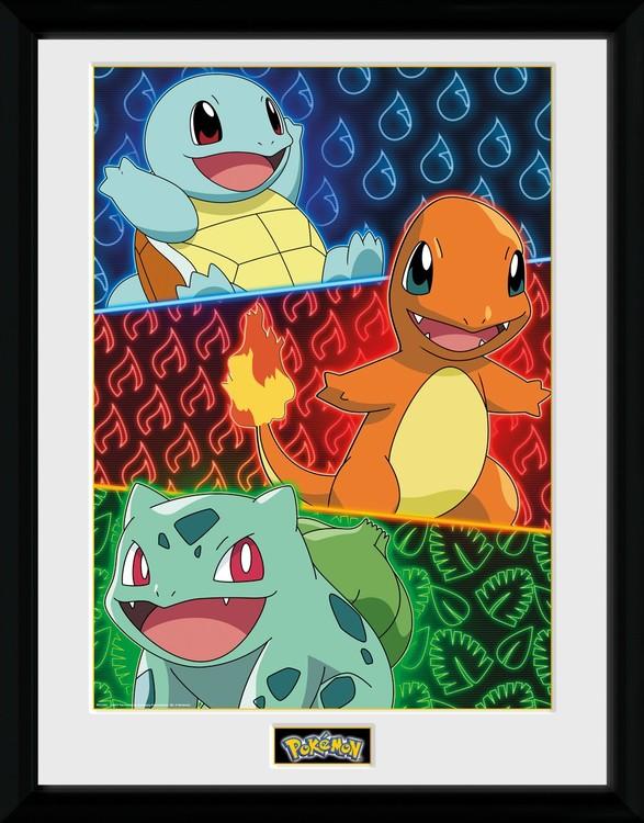 Pokemon - Starters Glow Framed poster
