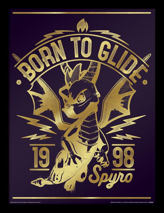 Framed poster Spyro - Gold Born To Glide