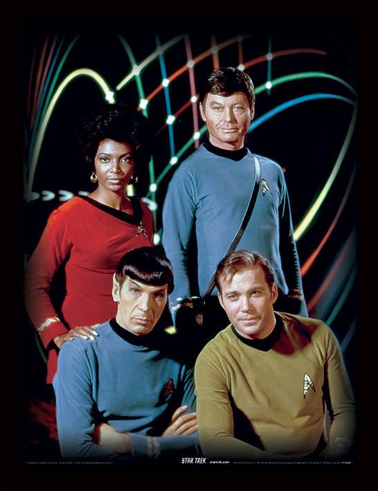 Framed poster Star Trek - Kirk, Spock, Uhura & Bones