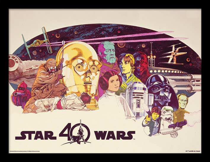 star wars 40th anniversary characters horizontal framed poster