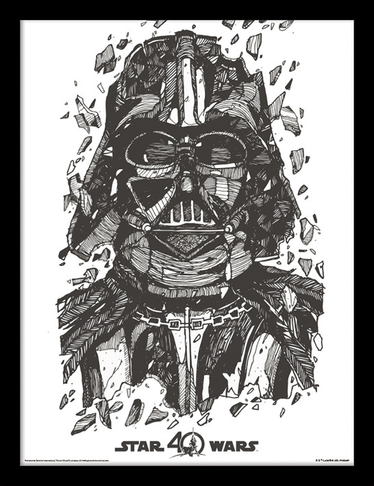 star wars 40th anniversary darth vader framed poster