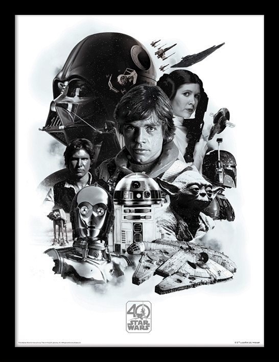 Framed poster Star Wars 40th Anniversary - Montage