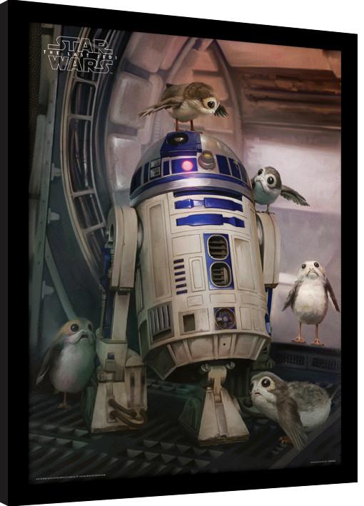 Star Wars The Last Jedi - R2-D2 & Porgs Framed poster