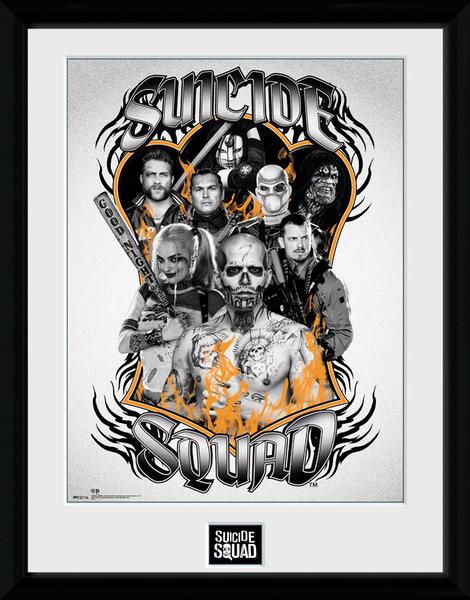 Framed poster Suicide Squad - Group Orange Flame