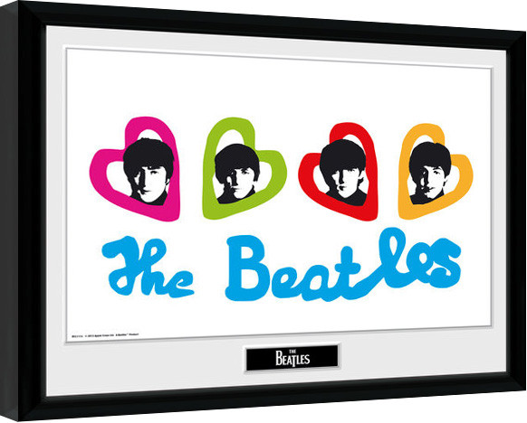 The Beatles - Love Hearts Framed poster