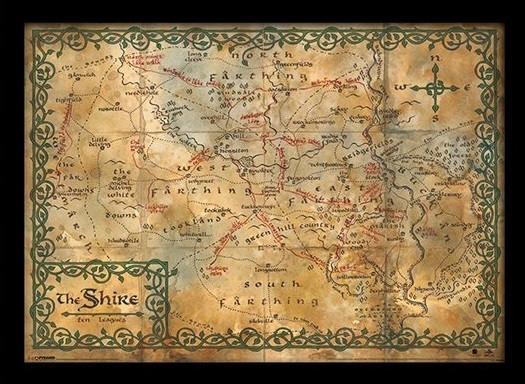 The Hobbit - The Shire Map Framed poster | Buy at Abposters.com