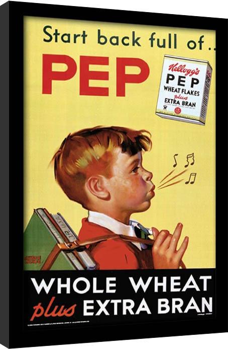 Framed poster Vintage Kelloggs - Start Back Full Of Pep