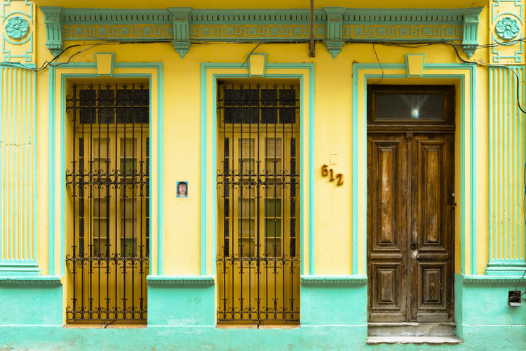 Art Print on Demand 612 Street Havana - Yellow and Green