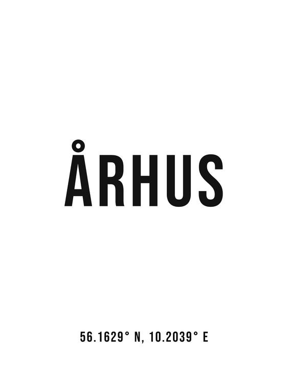 Art Print on Demand Aarhus simple coordinates