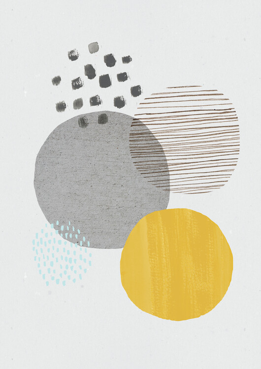 Art Print on Demand Abstract mustard and grey