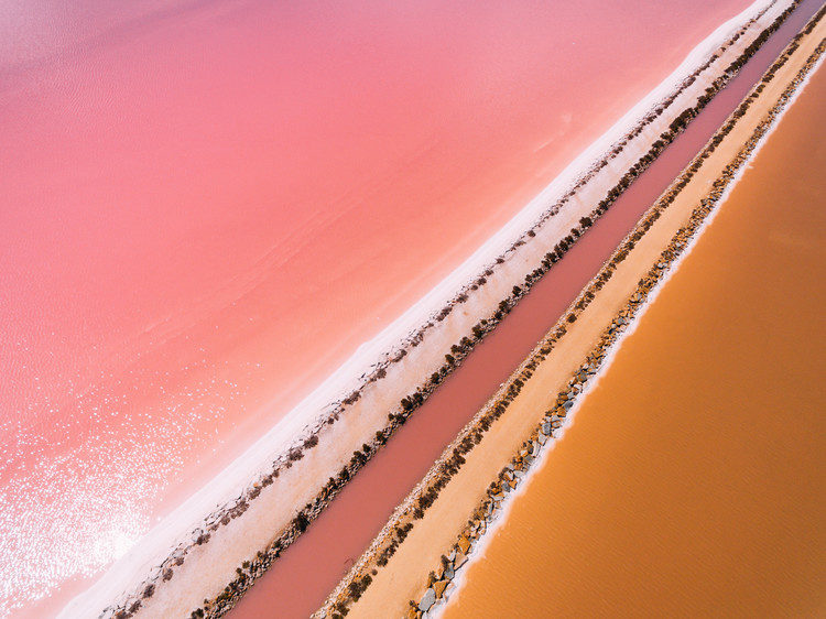 Art Print on Demand Aerial view of a salt lake