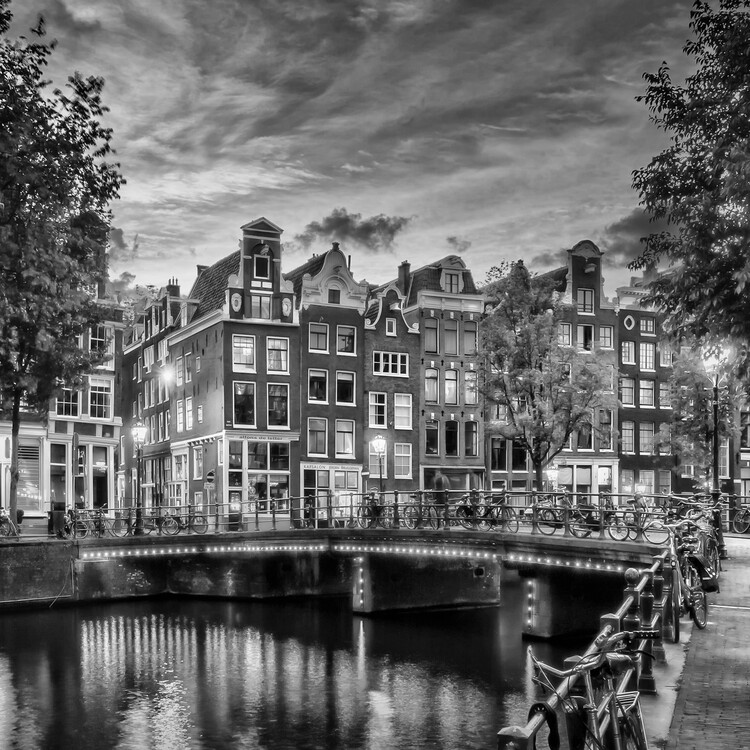 Art Print on Demand AMSTERDAM Idyllic impression from Singel | Monochrome