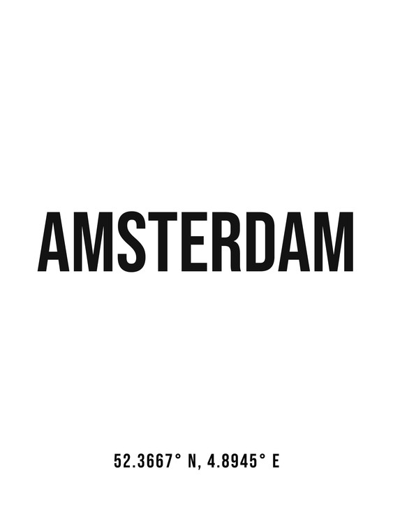 Art Print on Demand Amsterdam simple coordinates