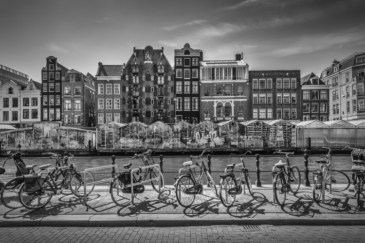 Art Print on Demand AMSTERDAM Singel With Flower Market
