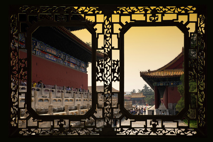 Art Print on Demand Asian Window - Forbidden City at Sunset