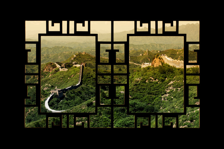 Art Print on Demand Asian Window - Great Wall of China