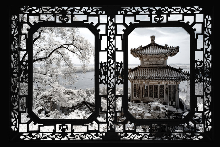 Art Print on Demand Asian Window - Summer Palace