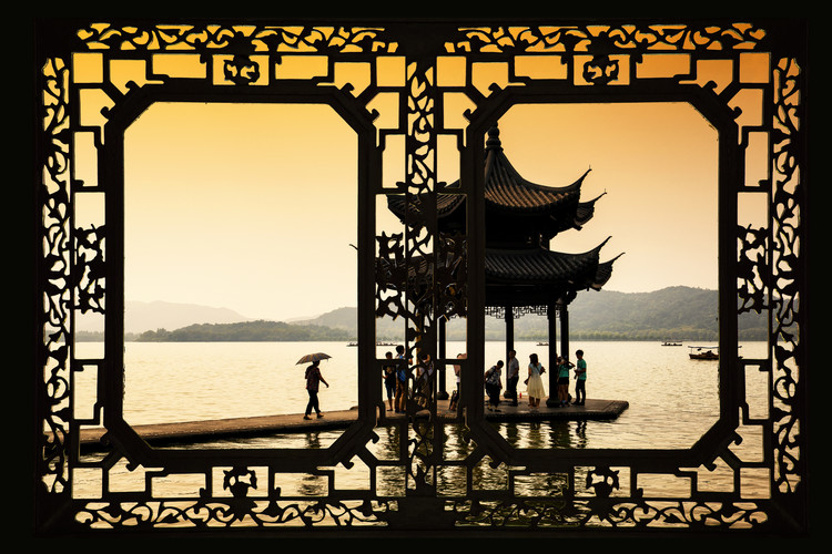 Art Print on Demand Asian Window - Water Temple at sunset