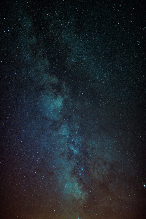 Art Print on Demand Astrophotography of Orange-Blue Milky Way.