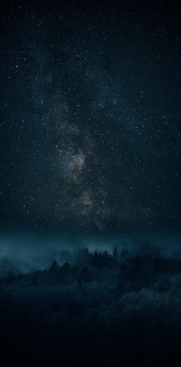 Art Print on Demand Astrophotography picture of Bielsa landscape with milky way on the night sky.
