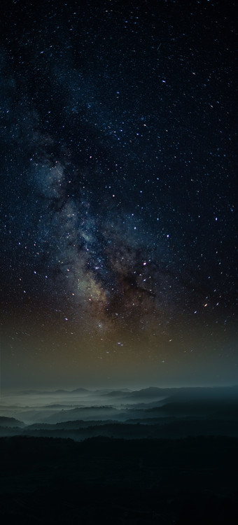 Art Print on Demand Astrophotography picture of Granadella landscape with milky way on the night sky.