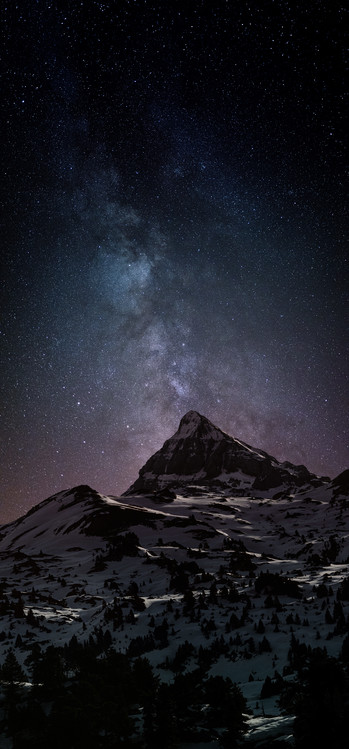 Art Print on Demand Astrophotography picture of Pierre-stMartin landscape  with milky way on the night sky.