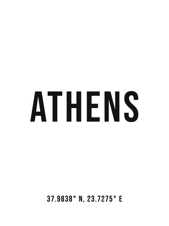 Art Print on Demand Athens simple coordinates