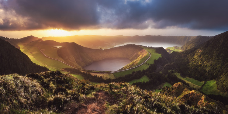 Azores - Sete Cidades Sunset Panorama Canvas Print