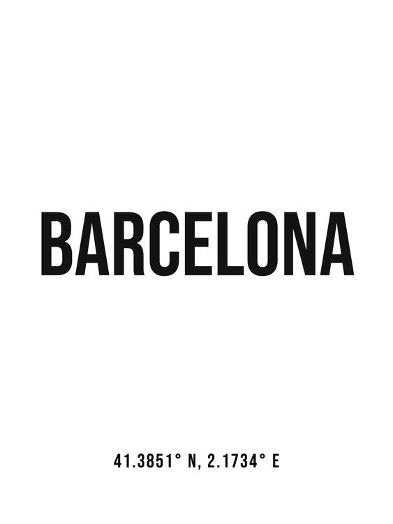 Art Print on Demand Barcelona simple coordinates