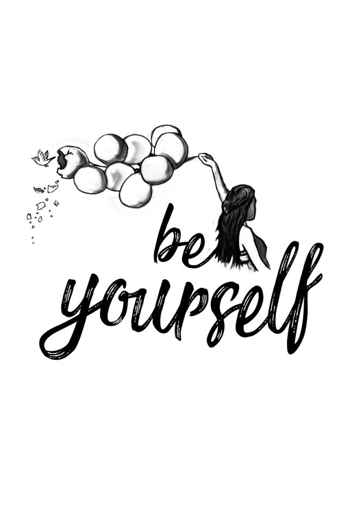 Art Print on Demand Be yourself - White
