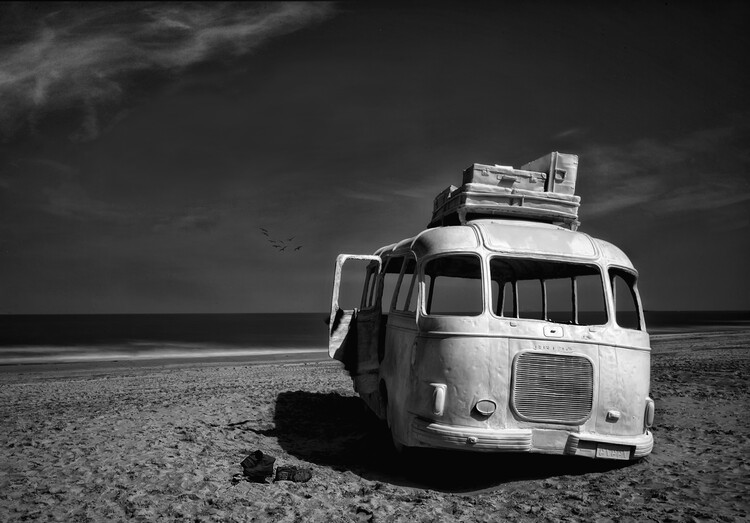 Art Print on Demand Beached Bus