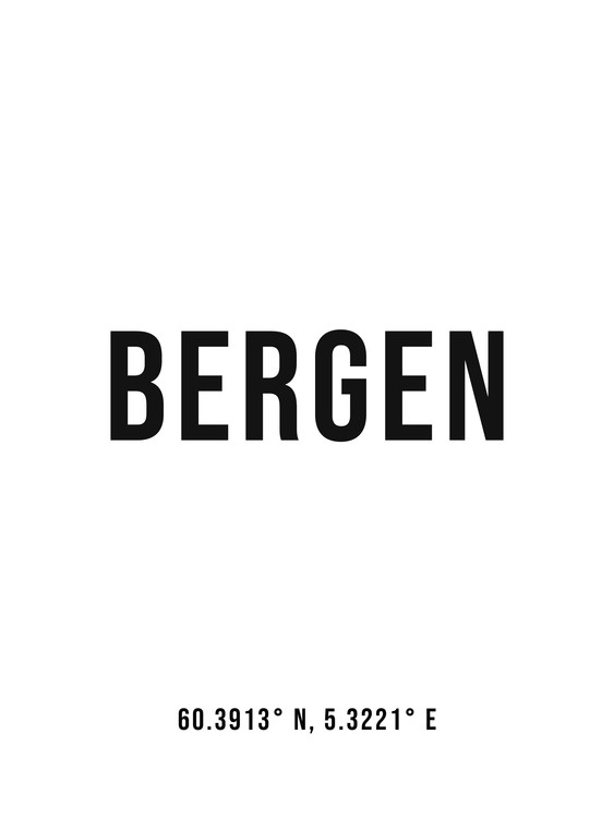 Art Print on Demand Bergen simple coordinates