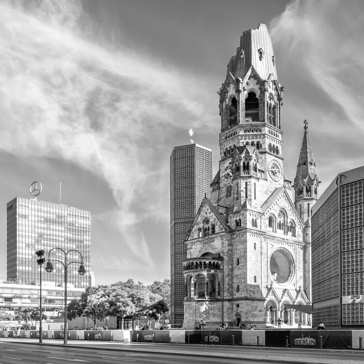 Art Print on Demand BERLIN Kaiser Wilhelm Memorial Church | Monochrome