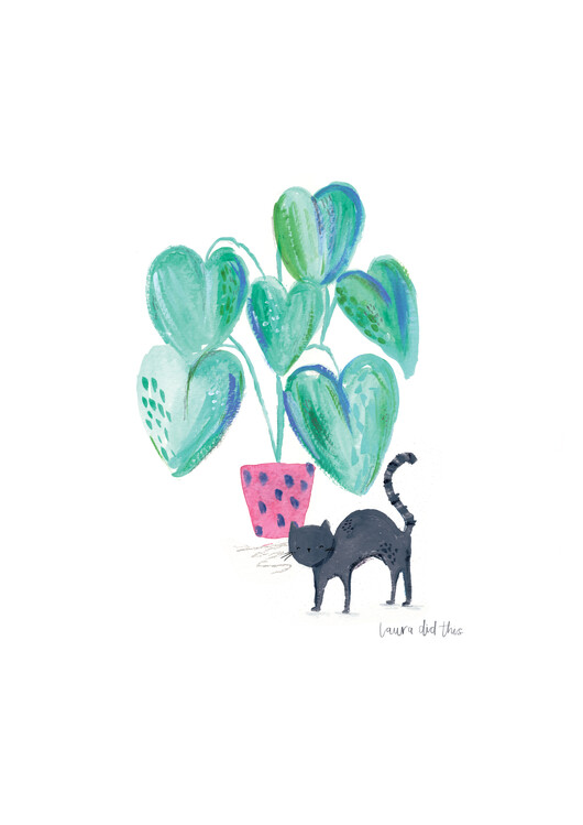 Art Print on Demand Black cat and plant