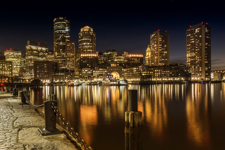 Art Print on Demand BOSTON Fan Pier Park & Skyline at night