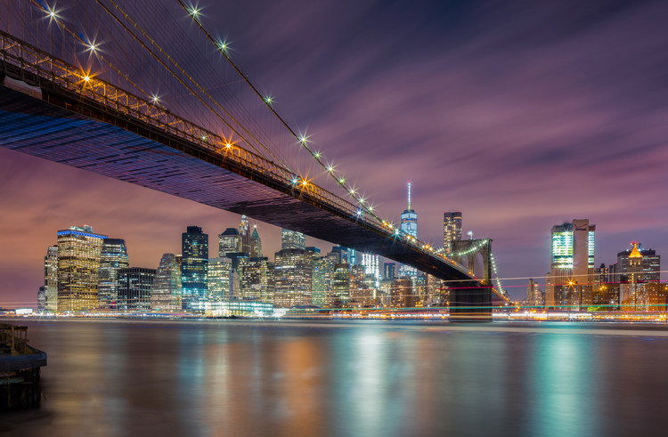 Art Print on Demand Brooklyn Bridge at Night