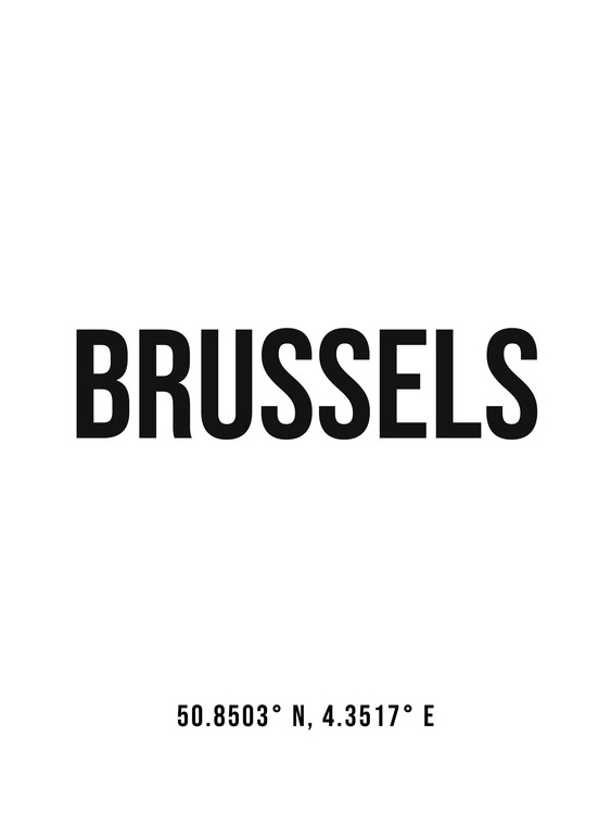 Art Print on Demand Brussels simple coordinates
