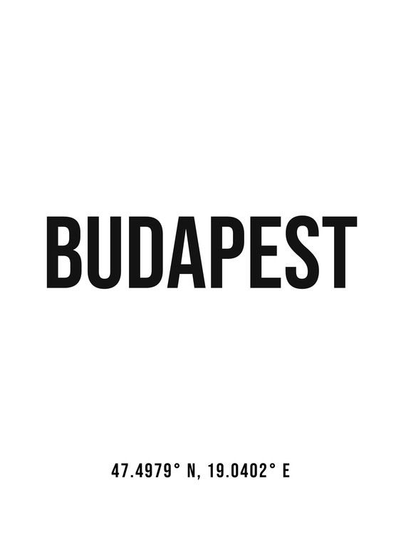 Art Print on Demand Budapest simple coordinates