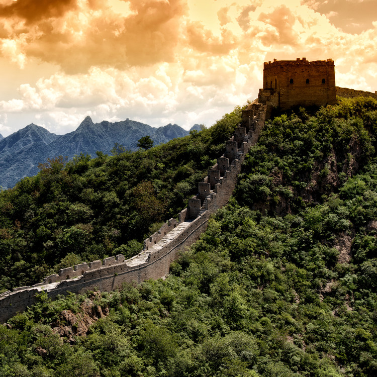 Art Print on Demand China 10MKm2 Collection - Great Wall of China at Sunset