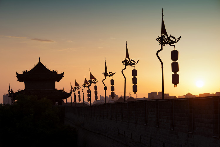 Art Print on Demand China 10MKm2 Collection - Shadows of the City Walls at sunset