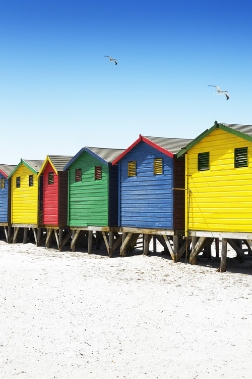 Art Print on Demand Colorful Beach Huts on Muizenberg