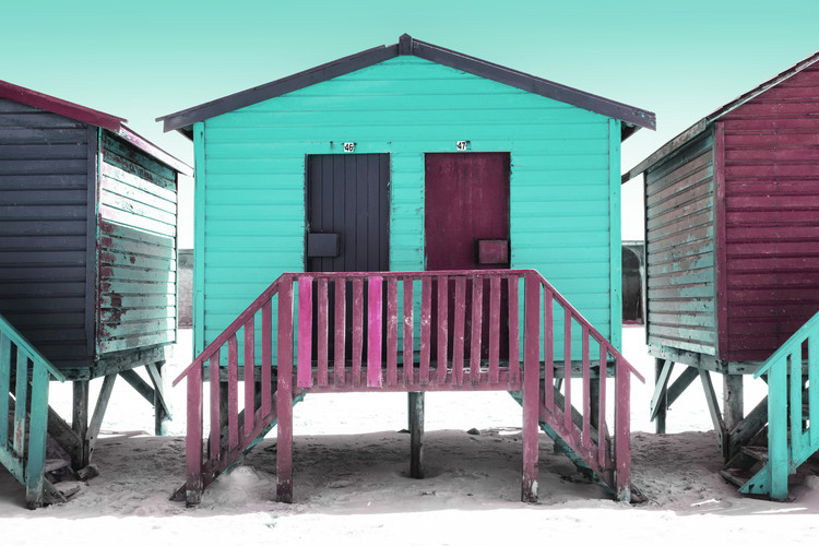 Art Print on Demand Colorful Houses Forty Six & Forty Seven Turquoise