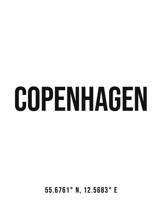 Art Print on Demand Copenhagen simple coordinates